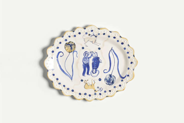Illustrator and ceramicist Polly Fern makes a range of hand-painted platters inspired by poetry books for The New Craftsmen. Here, the Tulip and Whippet Romantic Platter is taken from an old book of garden poems. Decorated with cobalt oxide on earthenware, the platter is £7. See the full range of her painted ceramics at The New Craftsmen.