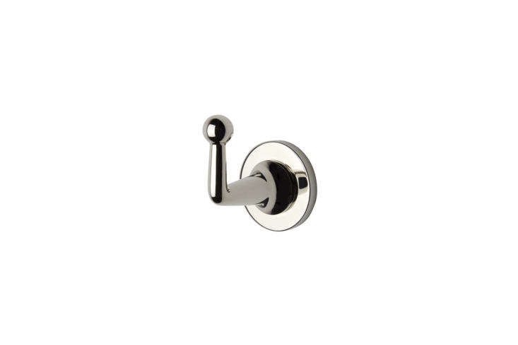 the dash single robe hook is available in \16 finishes; \$\166 each at waterwor 21