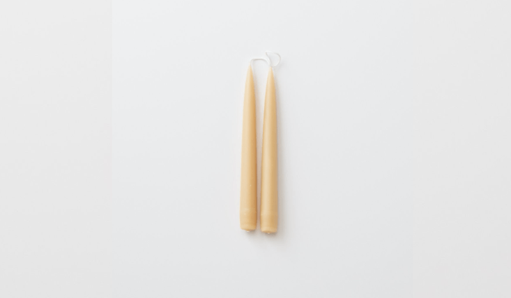 the simplest set of beeswax taper candles, sure to burn slowly, is \$\14 from s 14