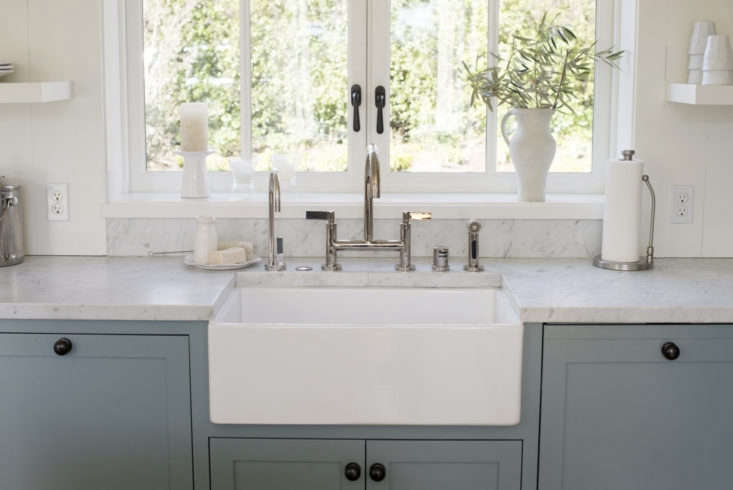 In a Mill Valley kitchen designed by Ken Linsteadt, the kitchen faucet and hot water dispenser are from Lefroy Brooks. For more see our postKitchen of the Week: A New-Build Kitchen in Mill Valley, CA, the Six-Month Check-Up.