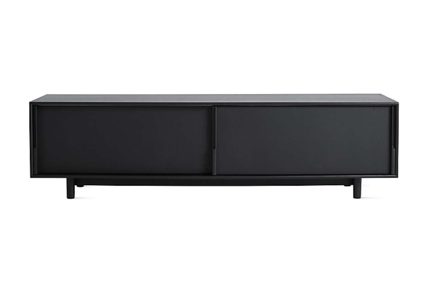 The Edel Media Unit designed by Jenkins & Uhnger for Design Within Reach comes in Ebonized Oak (shown), Oak, and Walnut; $