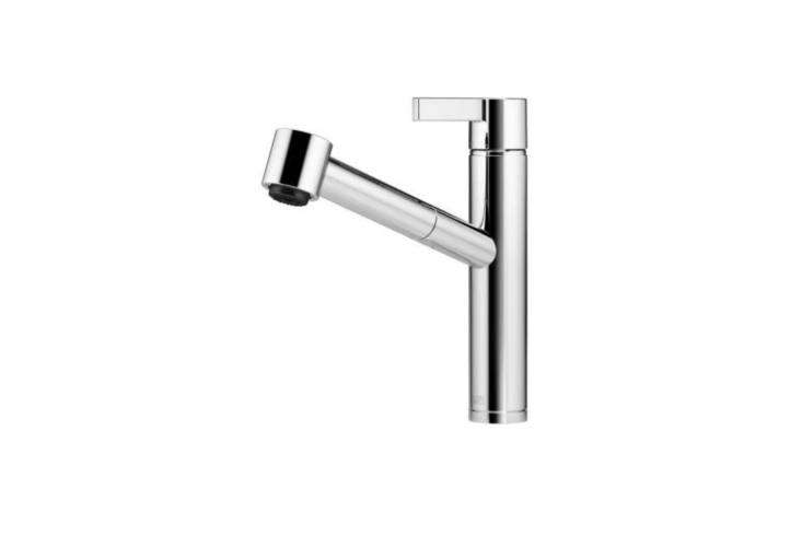 The Dornbracht Eno Single Lever Mixer Pull-Out Spray is $788. and comes in Polished Chrome or Platinum Matte at Quality Bath.