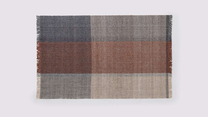 Woven from wool and cotton and designed with Winnipeg-based designer Carla Zacharias, theTartan Rug offers an oversized take on plaid, in brick red and blue ($5.99 for the 6&#