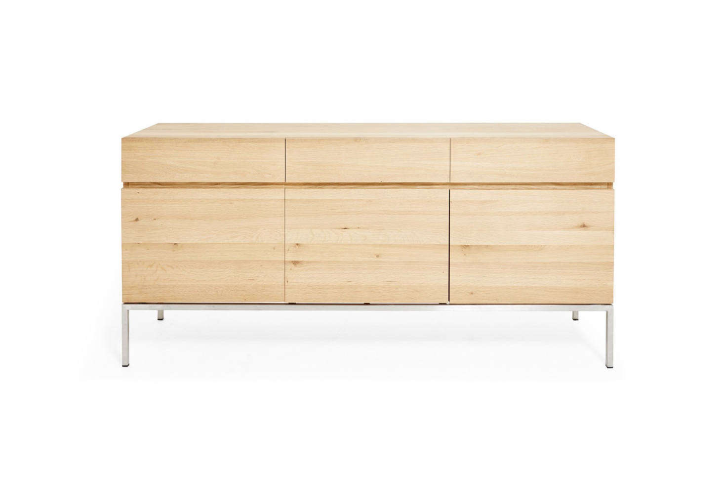 The Ethnicraft Oak Ligna Sideboard is made of oak with steel legs, starting at $src=