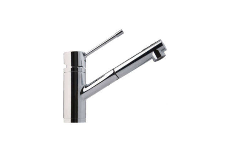 The Franke Single Lever Pull-Out Faucet Dual-Spray (FFPS00) in stainless steel is $305.53 at Quality Bath.