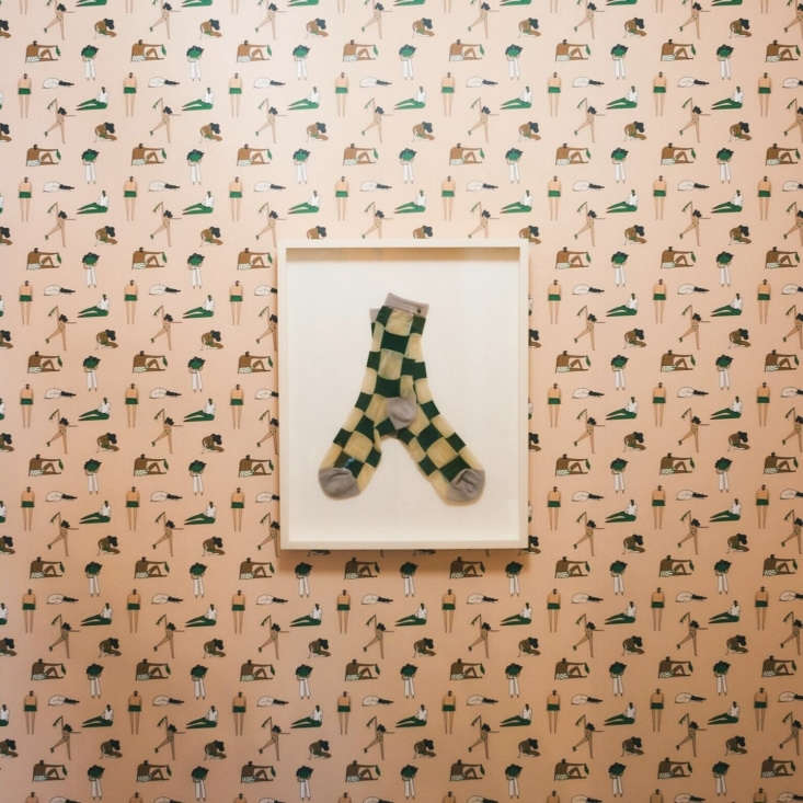 Alex ofAl Stampa developed a custom wallpaper design called Cycles for the laundromat&#8