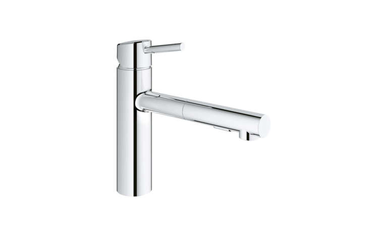 The Grohe Concetto Pull-Out Dual Spray Faucet (353) is available in chrome and super steel for $