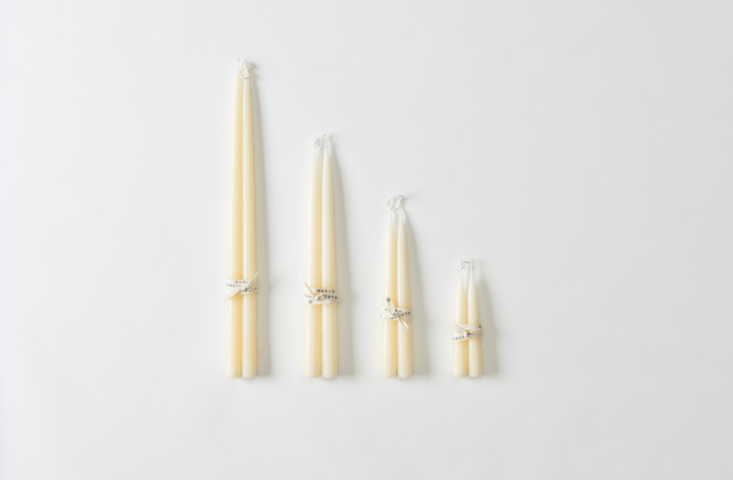 and for the purist,hand dipped ivory taper candles from march in winter white 17