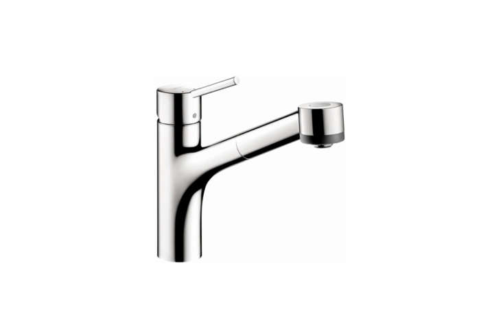 The Hansgrohe Talis S Pull-Out Kitchen Faucet with Locking Spray Diverter (064600)in Chrome and Steel Optic is the choice of architect Lauren Rubin of NYC as profiled in our post Easy Pieces: Architects' Go-To Modern Kitchen Faucets. The faucet is $7. to $344 at Faucet.com.