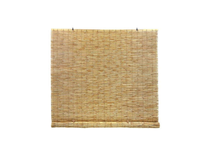 Merrill sourced the custom matchstick blinds from Valley Drapery, but you can find something similar at many well-known retailers, including Ikea and Home Depot, which sells this 48-inch-wide Natural Cordless Light Filtering Bamboo Roll-up Shade by Radiance; $.loading=