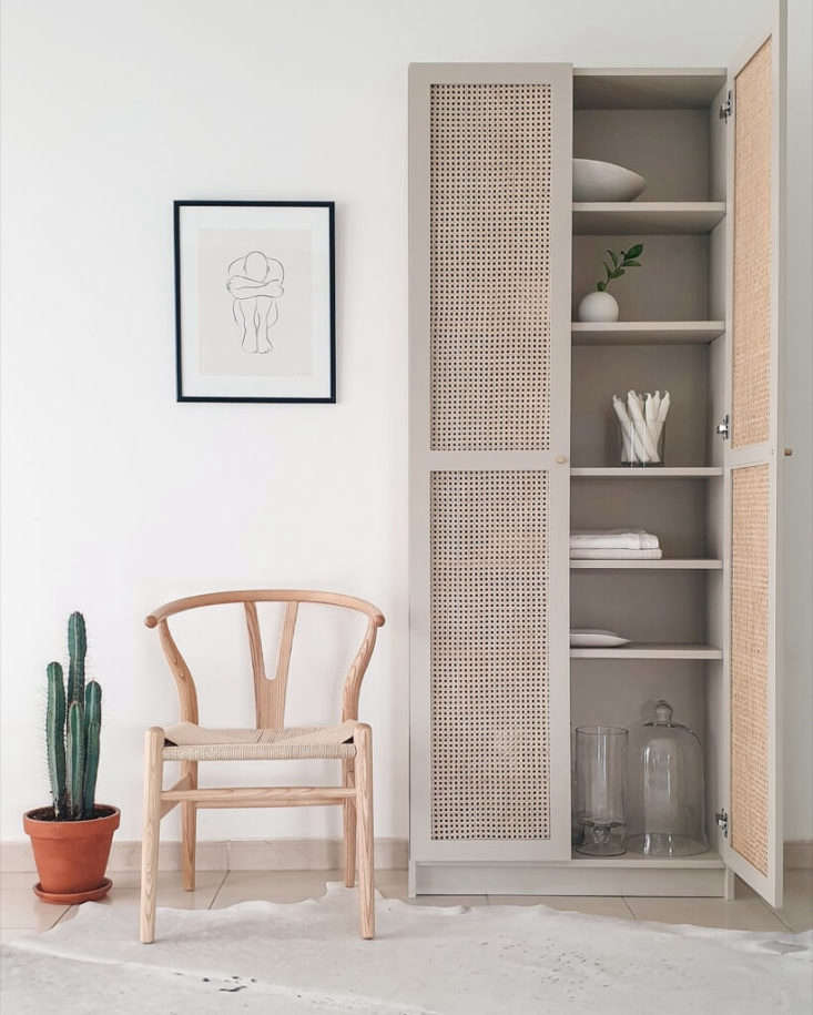 Remodelista Greatest Hits 2020 8 Economical DIY Rattan Projects Last year, as part of the Billy bookcase&#8\2\17;s 40th anniversary celebration, Ikea asked creatives to come up with new uses for the design. Interior designer Kathryn Hawkes of House of Hawkes in Dubai responded by hunting down a roll of rattan and, working with her carpenter,affixing rattan to the existing doors and painting the piece. She calls it Billy \2.0. Photograph courtesy of House of Hawkes.