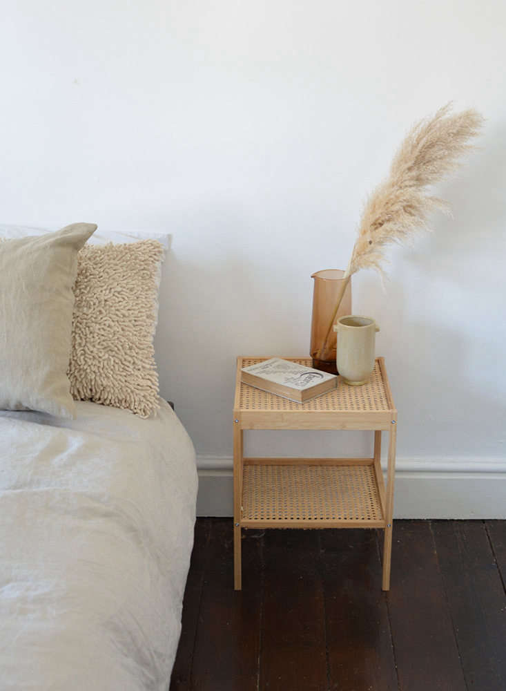 Remodelista Greatest Hits 2020 8 Economical DIY Rattan Projects Discovered via Hunker: Caroline Burke of Burkatron&#8\2\17;s From Blah to Boho Bedside Tablemade using Ikea&#8\2\17;s \$\19.99 Nesna nightstand. Caroline&#8\2\17;s simple trick: she gluedCane Webbing purchased on Amazon to the underside of the glass shelves that come with the table. (We recommend replacing the standard issue screws with better looking ones in brass or a black finish.) Photograph by Caroline Burke of Burkatron courtesy of Hunker.
