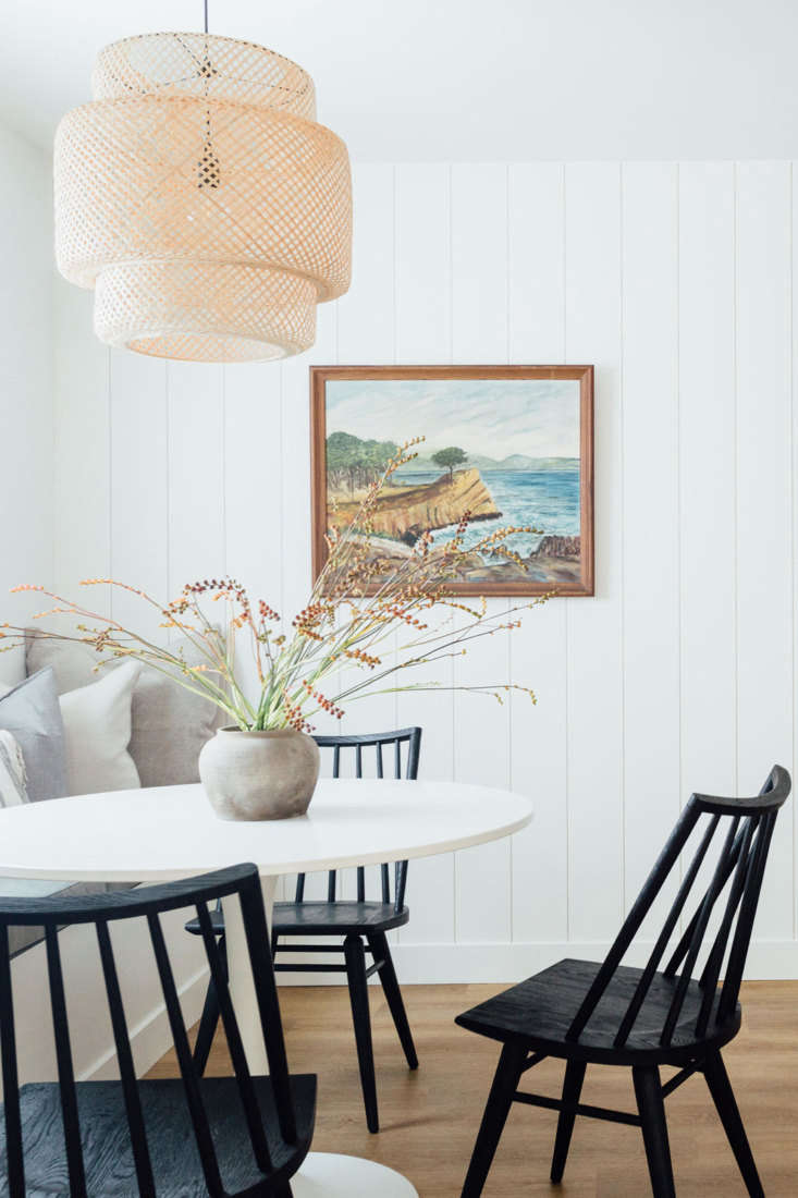 Kitchen of the Week Ikea Meets Semihandmade in a Shell Pink Beach House Kitchen Four Hands&#8\2\17; Lewis Windsor Chairs surround an Ikea dining table. The woven bamboo light is the Sinnerlig from Ikea. The house is currently rented for six months, but is occasionally listed on Airbnb.