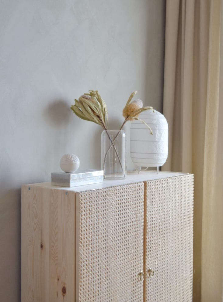 Remodelista Greatest Hits 2020 8 Economical DIY Rattan Projects AnotherIkea Hack by Caroline Bahrenscheer of September Edit was inspired by Ikea&#8\2\17;s discontinued Stockholm \20\17 Cabinet. Using wood glue and brass tacks, Caroline simply applied cut to fit rattan and IkeaEdvalla Drop Pulls (two for \$6.99) to the doors of the solid pineIvar cabinet,\$70. Photograph courtesy of September Edit.