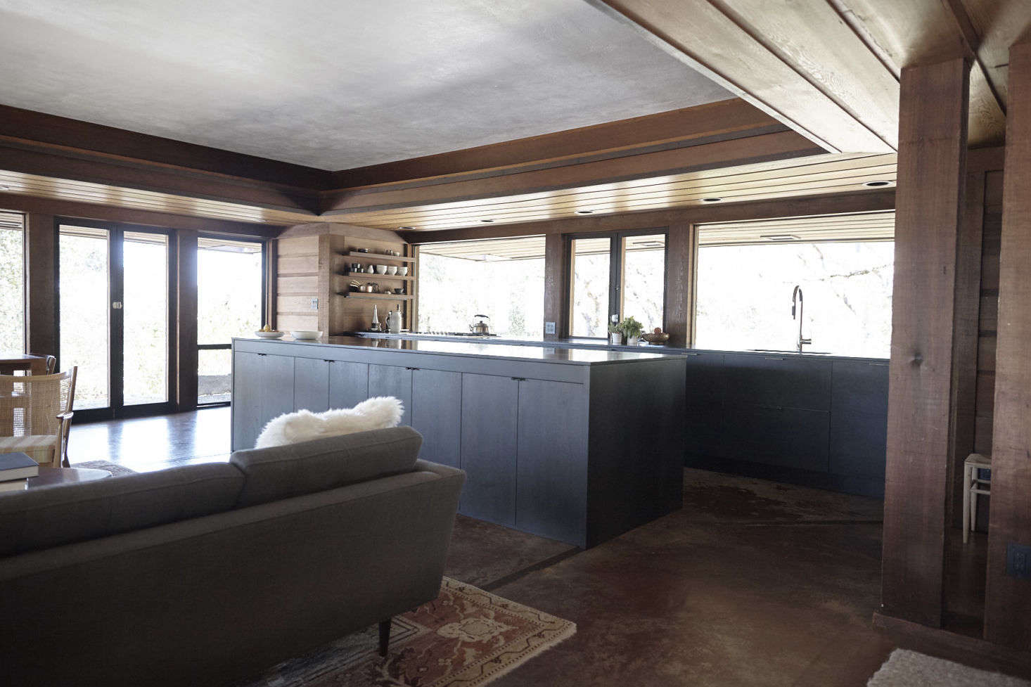 A view of the open-plan living space toward the new kitchen.