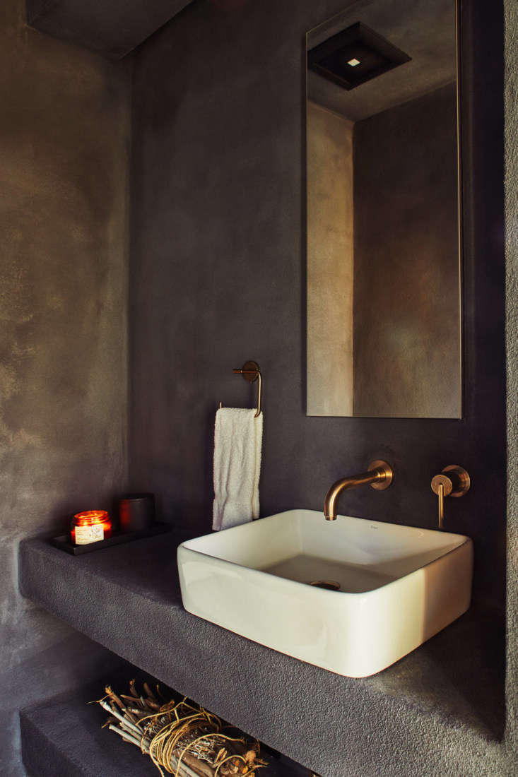 The bathroom with textured walls.