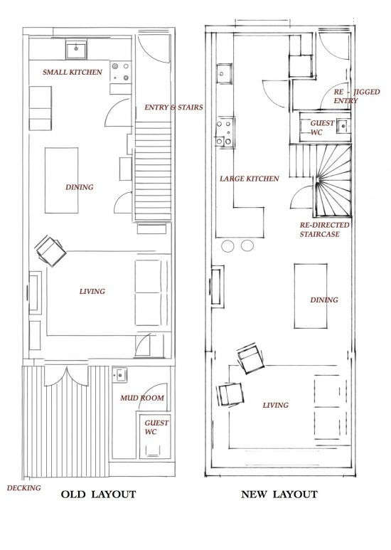 At left is the layout before, with the mudroom and guest bath at the back of the house and the original straight staircase; the new one is at right, with the necessities cleverly slotted in by the entryway and a sense of expansiveness throughout.