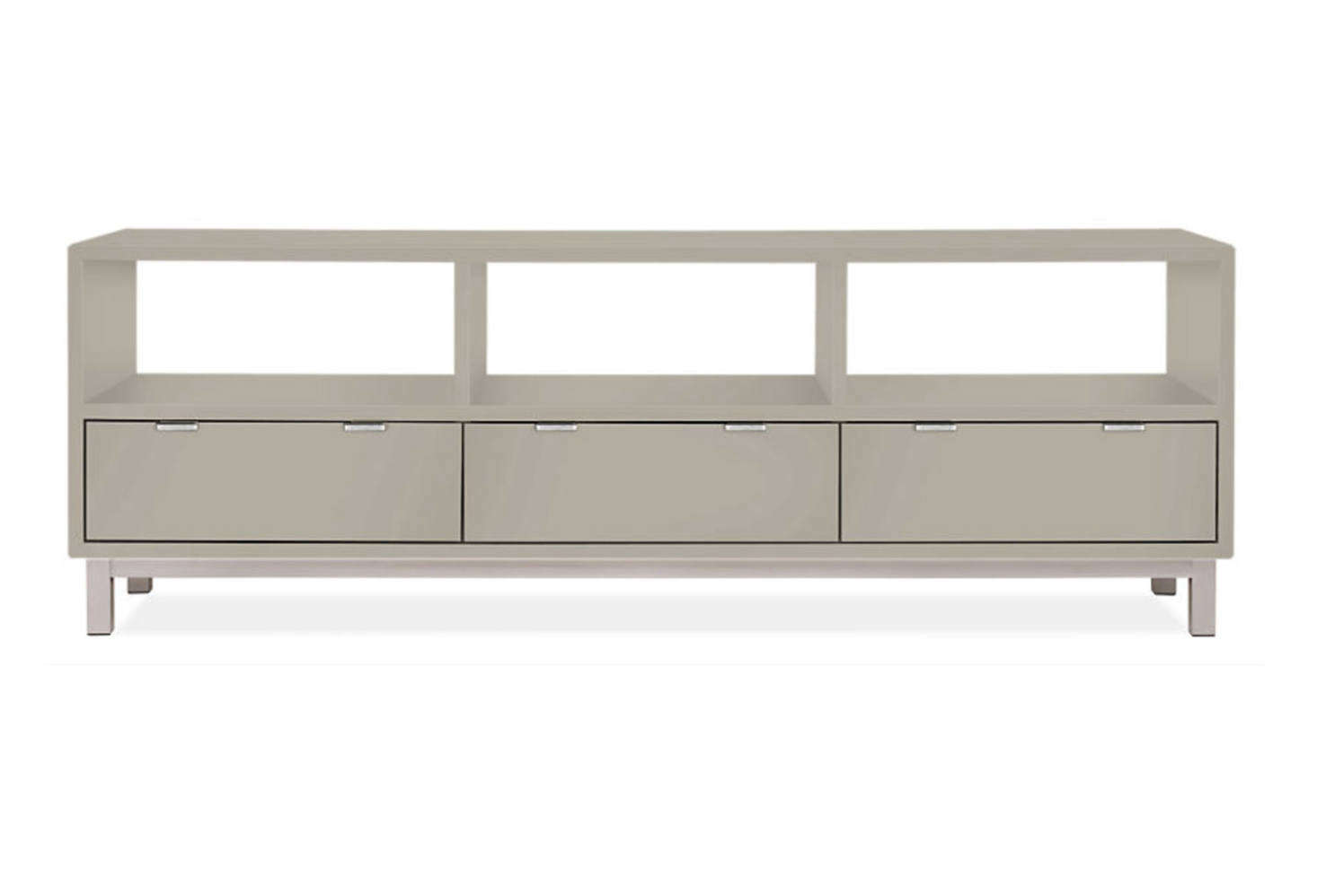 The Copenhagen Media Cabinet comes in  different finishes and a stainless or natural steel base for $src=