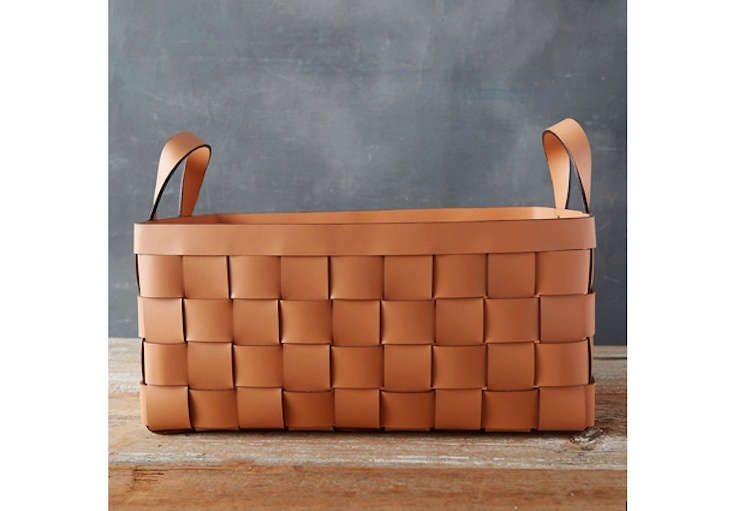 The Wide Weave Leather Basket is $8 at Terrain.