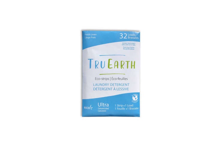 10 Easy Pieces A New Wave of Organic Laundry Soaps The Tru Earth Eco Strips Laundry Detergent is a pack of ultra concentrated pre measured strips of detergents for the washing machine. Coming in zero waste compostable packaging, the detergent is free of parabens and phosphate and is biodegredable and vegan; \$\19.95 for 3\2 loads at Tru Earth.