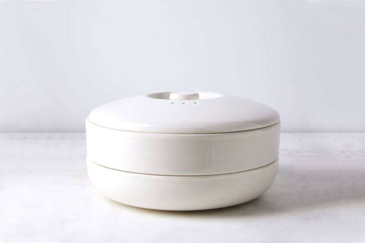 The BergHOFF Ceramic Steamer Bowl with Lid is made of stoneware with a gloss finish; $90 for covered bowl with steamer insert at Food 5
