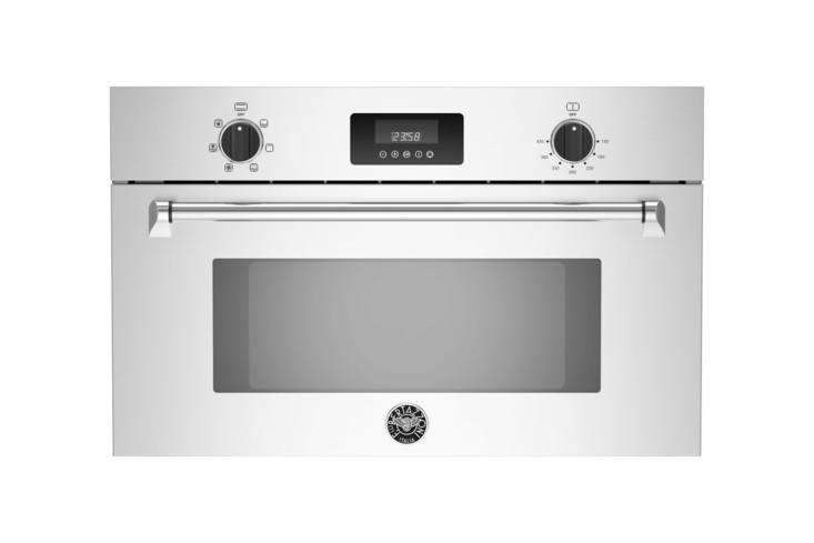 The Bertazzoni Master Series 30-Inch Convection Speed Oven (MASSO30X) cooks with 5 power levels and a full-width broiler; $