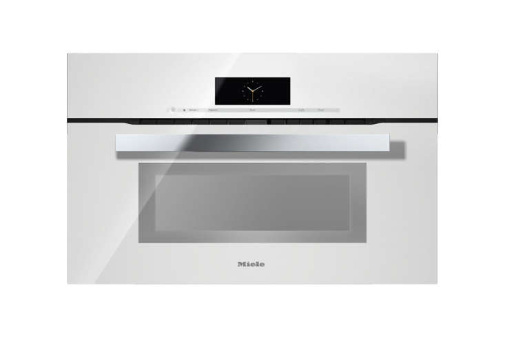 The Miele PureLine M Touch Speed Oven (H6800BMWH) in Brilliant White heats with  different operating modes; $3,899 at US Appliance.