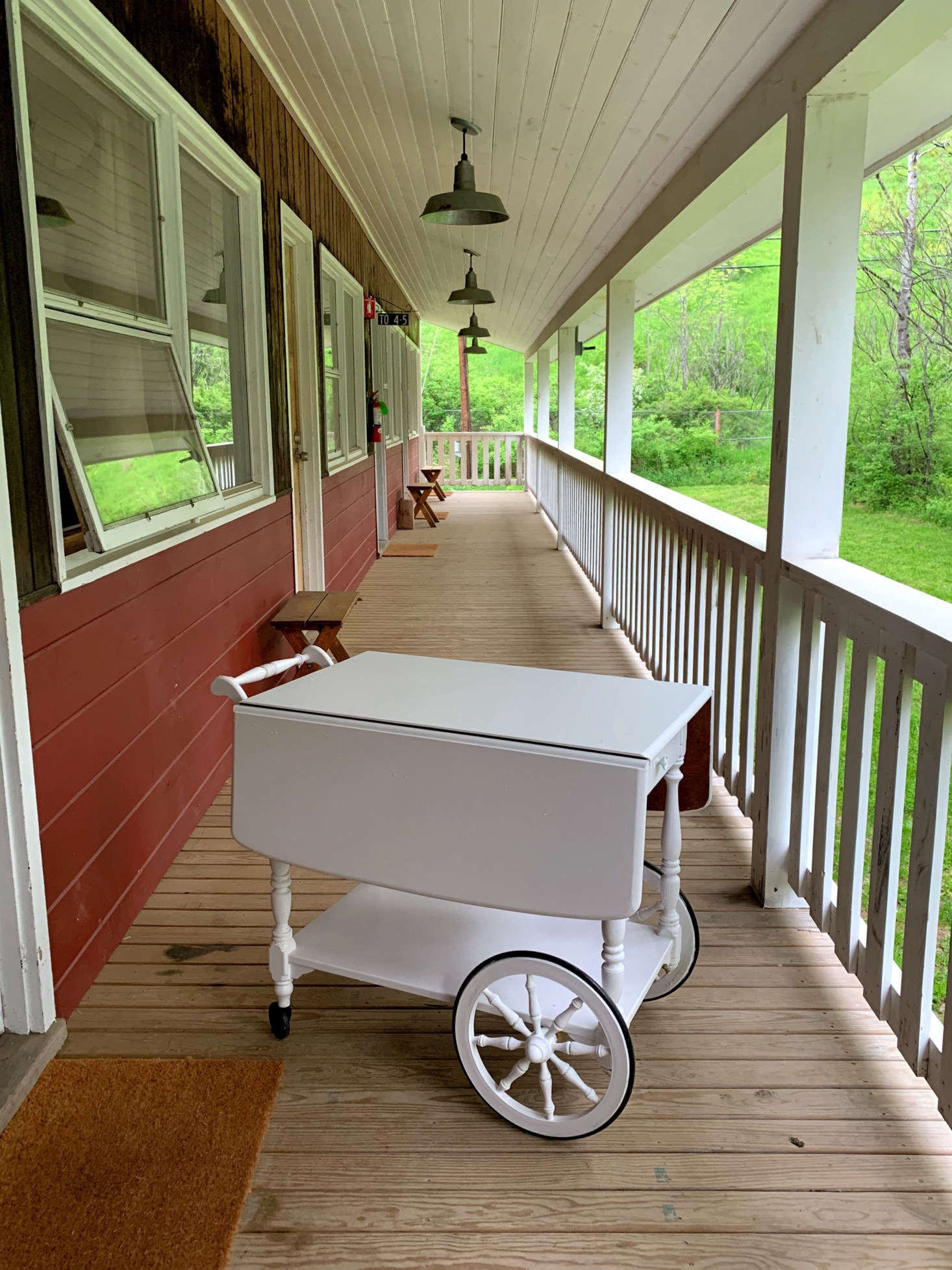A Craigslist drop-leaf trolley with a fresh look thanks to a few coats of white paint. Like the look of the Red Rose? It has seven guest rooms that rent for $0 a night on Airbnb, plus a restaurant and bar, and is approximately two hours by car from NYC.