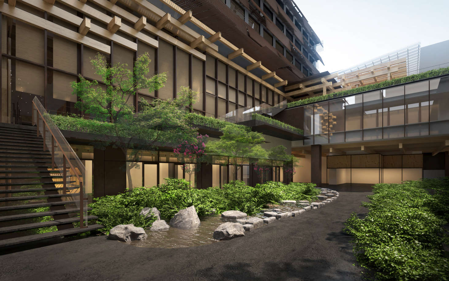 A rendering of the exterior of the hotel, which incorporates the former Kyoto Central Telephone Company, built by architect Tetsuro Yoshida in the s.