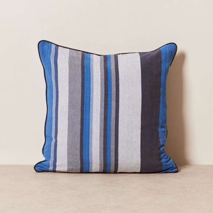goodee limited edition pillow blue stripe solid