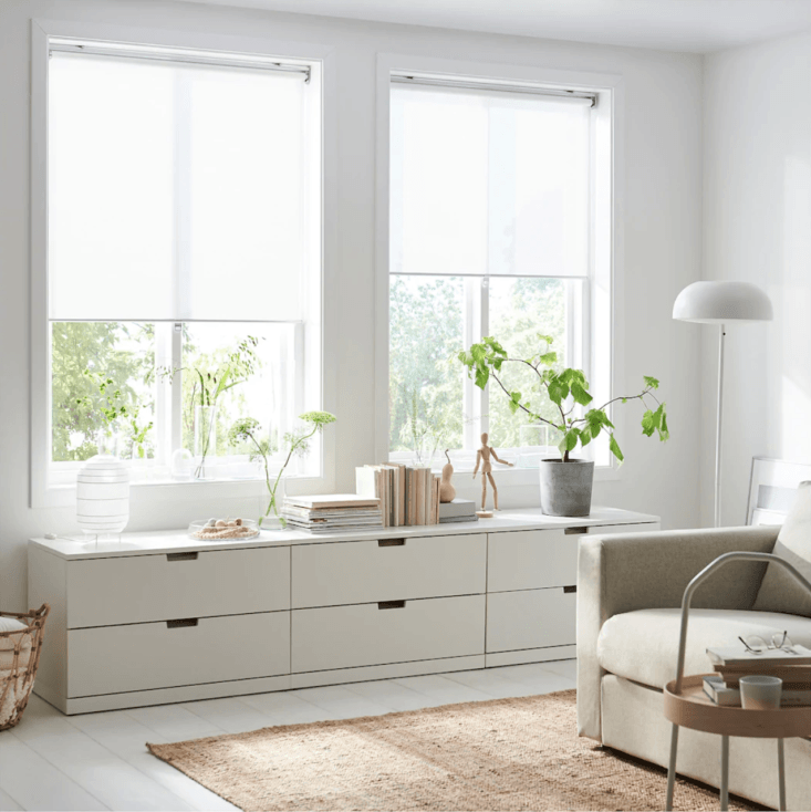 ikea&#8\2\17;s white skogsklöver roller blinds filter outside light and is 9