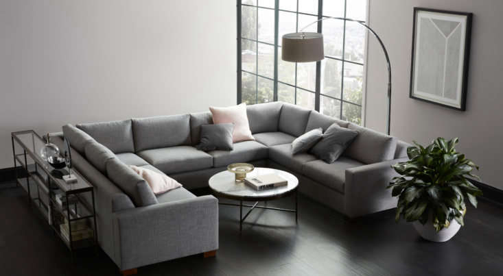 An example of their attention to detail: The Carson Sectional has generous, 30-inch-wide cushions and a relaxed, angled back to make it extra comfortable. It's also modular, handcrafted, eco-friendly, and available in over 6 fabrics and leathers and over  wood finishes. Nestled in the middle is the Vienna Round Cocktail Table, shown here with a marble top and pewter base.