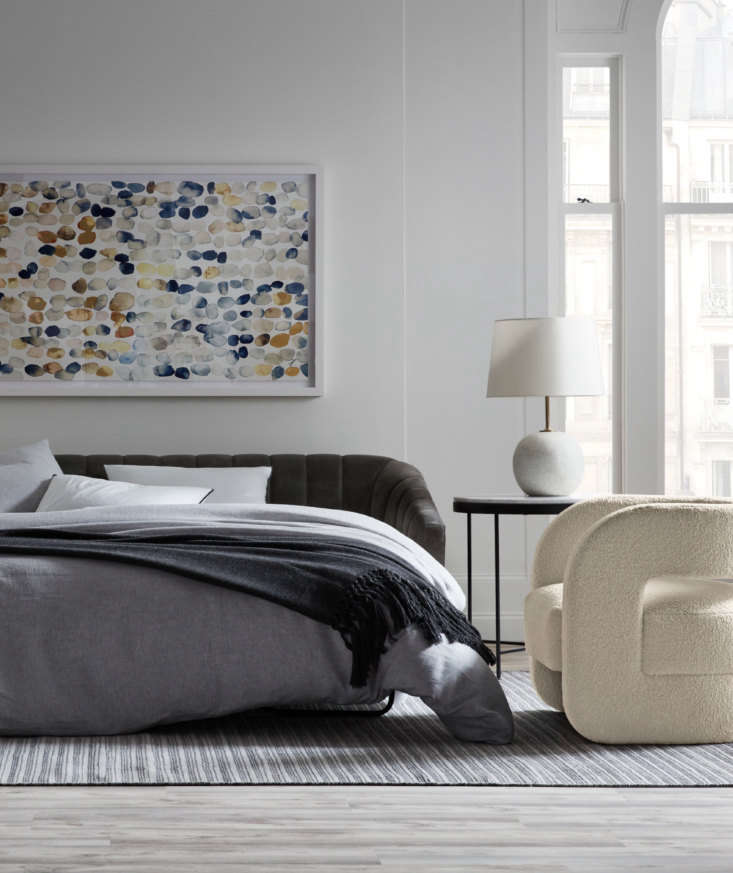Good-looking and versatile, the new Landry Sleeper comes three ways—with a diamond-tufted back, a clean-lined plain back, or a channeled back (shown here)—and the fold-out mattress has a resilient CertiPUR-US foam core and plush Serene foam topper. At right is the '70s-inspired Kirby Chair in soft Sherpa fabric.