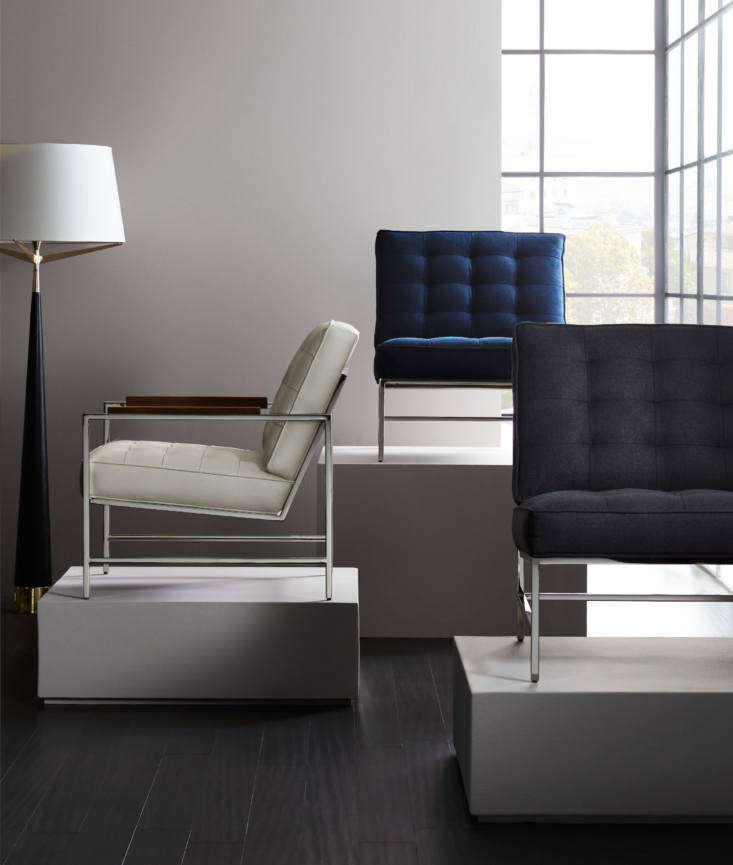The iconic, modern Major Chairs are comfortably angled and clean-lined, and are available in fabric or leather, a polished stainless or brushed brass base, and armless or with Midcentury-style wood-capped arms.