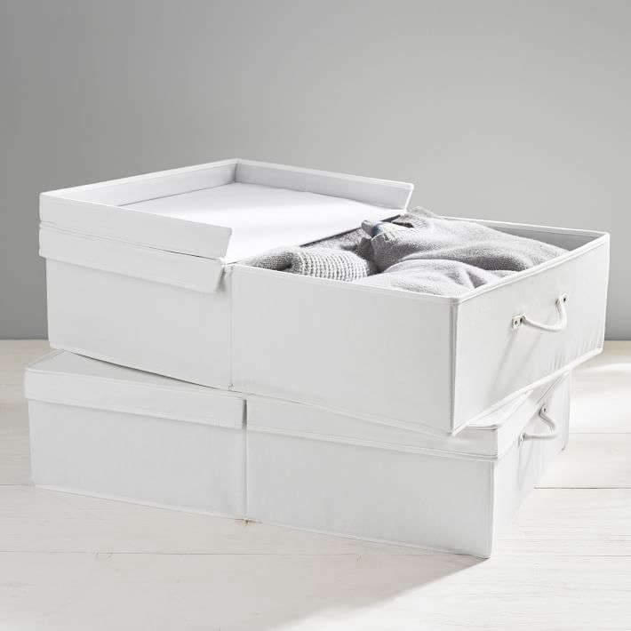 Pottery Barn Teen makes the Underbed White Denim Storage Bins with a polyester and cotton blend lining; $45.60 each.