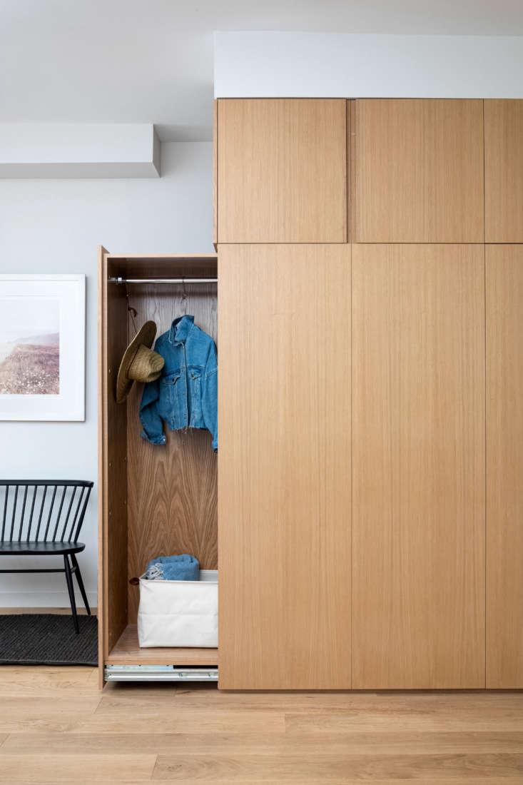 In lieu of a door, the closet pulls out. &#8