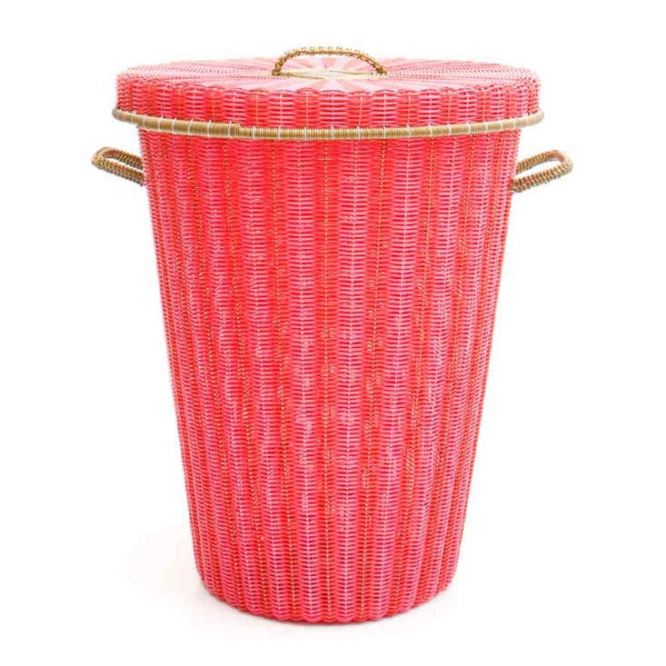 red and pink flared laundry basket