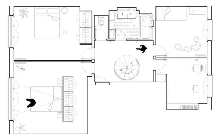The lower level. The finished project combines two identical apartments (one on top of the other) for a duplex.