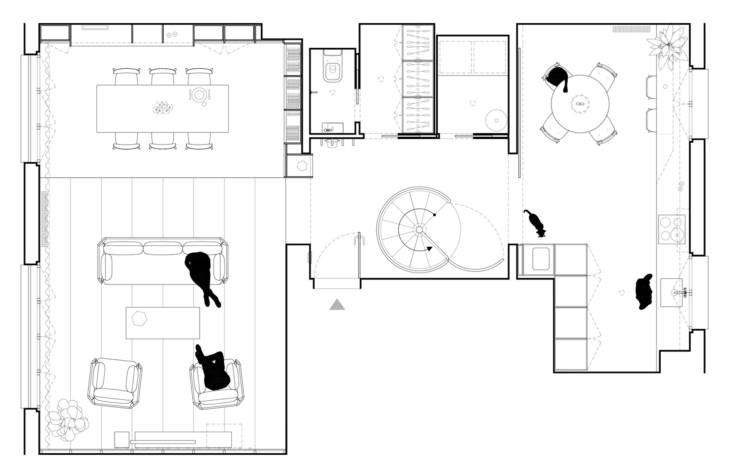The upper level layout. The entire apartment totals loading=