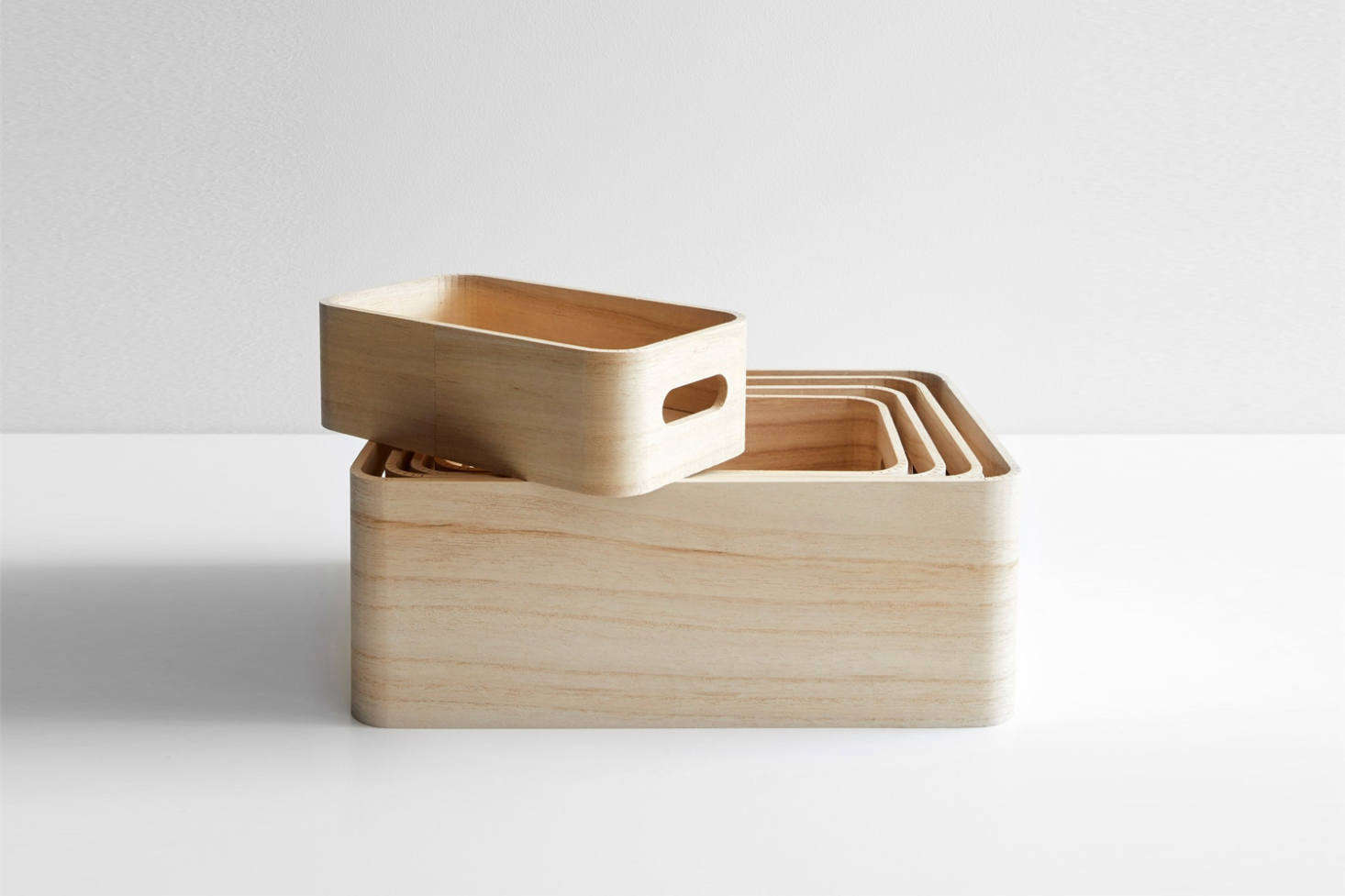 The Save-It Storage Box Set of 5 from Rig-Tig is made of unfinished Paulownia wood for $54.95 at Unison Home.
