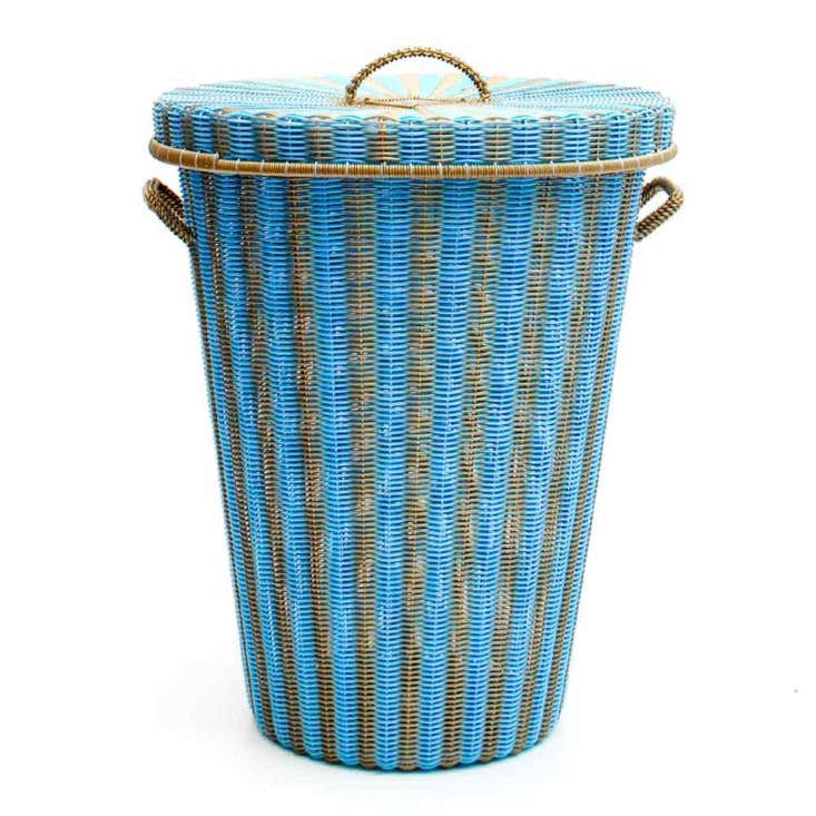 sky blue and gold flared laundry basket
