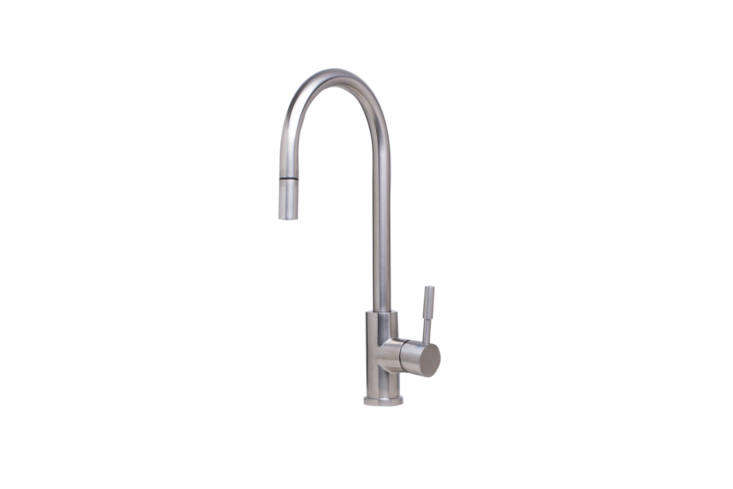 The Alfi Pull-Out Single Hole Kitchen Faucet (AB), in polished or brushed stainless steel, is $330 at Quality Bath.