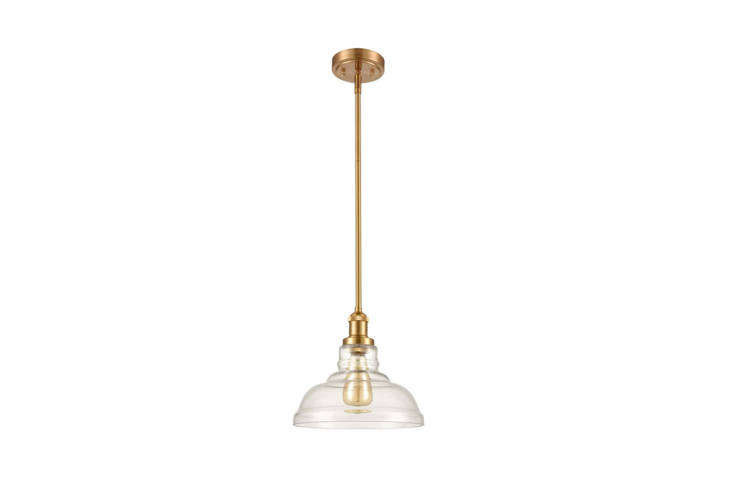 The Industrial Brass Glass Pendant ($85) has a slender profile and a rust-proof antique brass finish.
