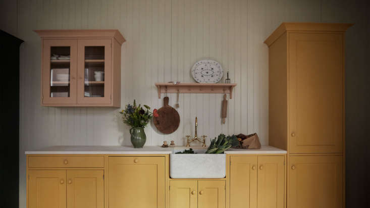 An unlacquered brass Roma Two Handle Kitchen Tap and a Butler Porcelain Sink anchor the prep area.