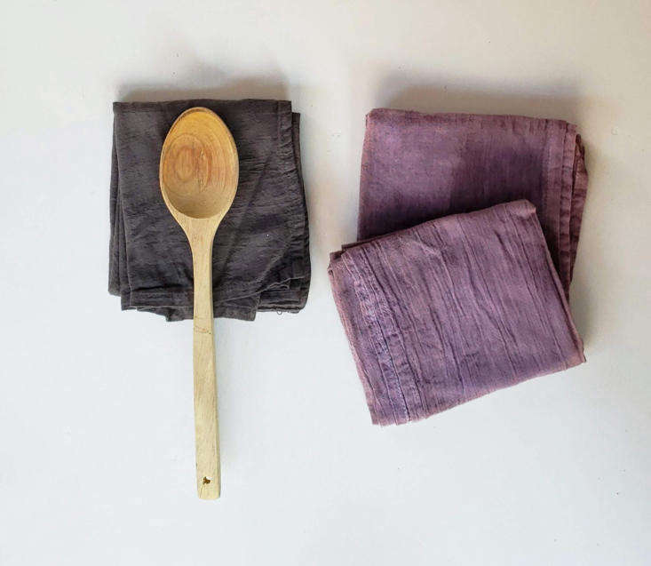 Color Explosion Linens Imbued with Natural Plant Dyes Not all of Amanda&#8\2\17;s dyed fabrics have that color bombed look. These solid colored Floursack Tea Towels are in more muted shades; \$36 for \2.