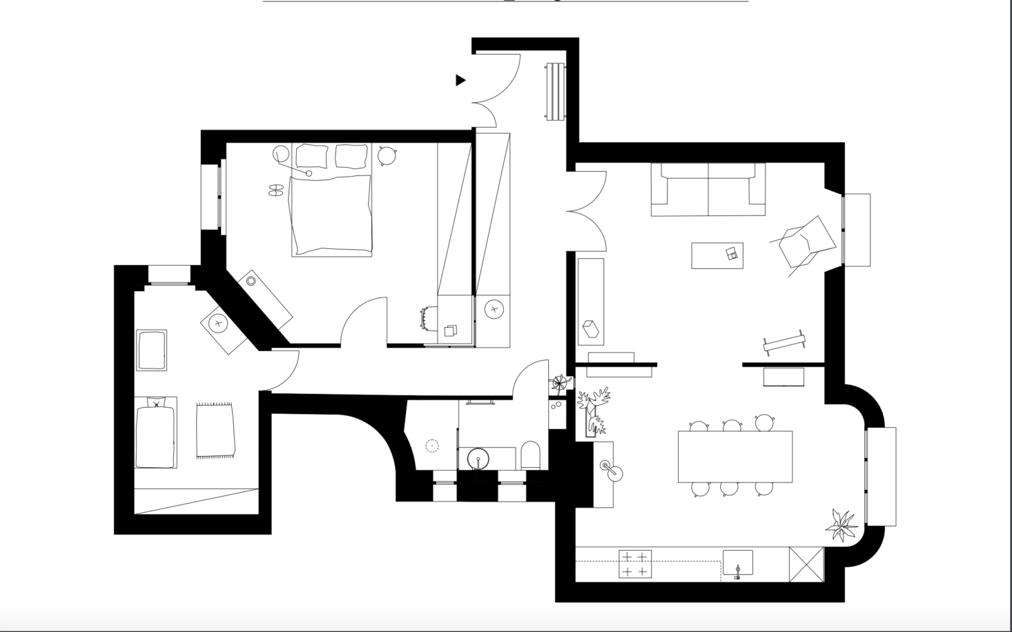 The new floor plan—775 square feet in total—has a more logical flow, with the living room and kitchen/dining area linked and the bedrooms side by side in the back. The architects gained more space for the tiny bath by reducing the hallway a bit and sealing the door between it and the dining room. The construction took three and a half months.
