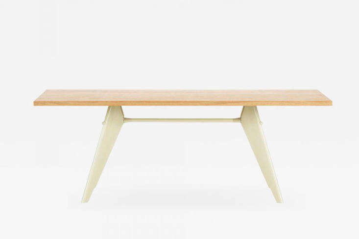 The Jean Prouvé Em Table, shown in Ecru, continues to be made in a range of powder coated bases; $6,050 at Finnish Design Shop.