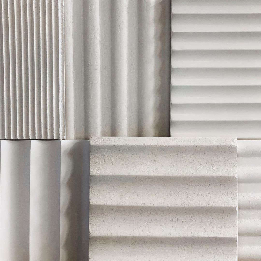 Kamp Studios of Brooklyn is a two-woman workshop specializing in architectural finishes. Shown here, their fluted tile samples. Photograph via @kampstudios.