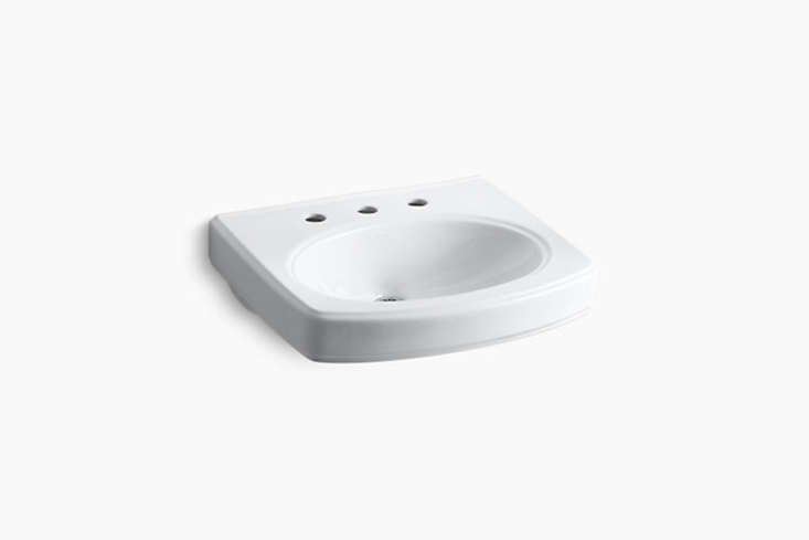 The Kohler Pinoir Bathroom Sink Basin, available with widespread faucet holes or a single faucet hole, $300 for the widespread model at Kohler.
