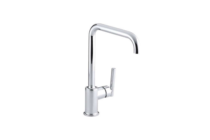 The Kohler K-7507-CP Purist Primary Swing Spout Kitchen Faucet Without Spray in polished chrome is $348.46 on Amazon. It&#8